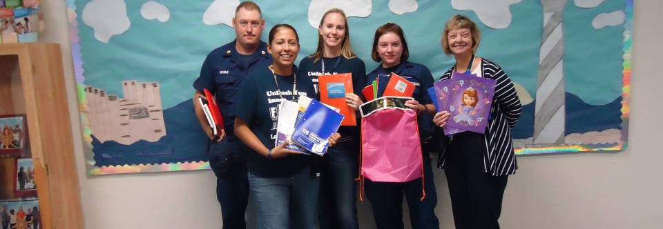 Thanks to the Coast guard who donated school supplies