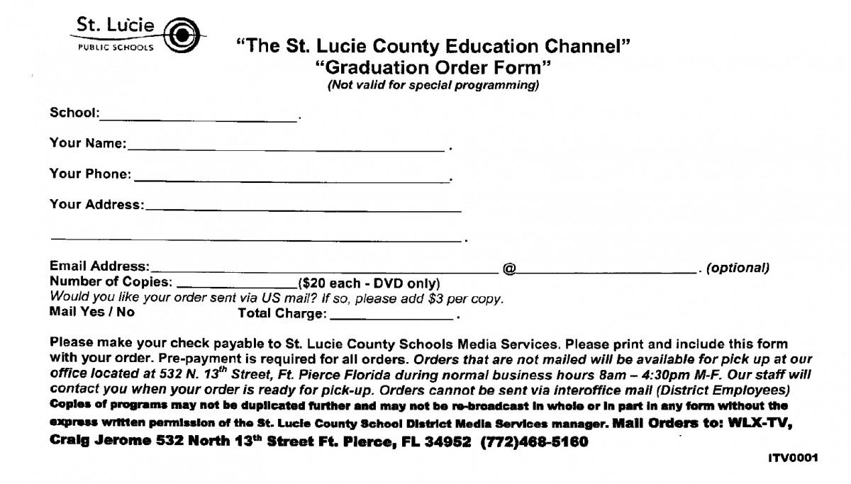 DVD Order Form: Graduation 2015 | St. Lucie West Centennial High