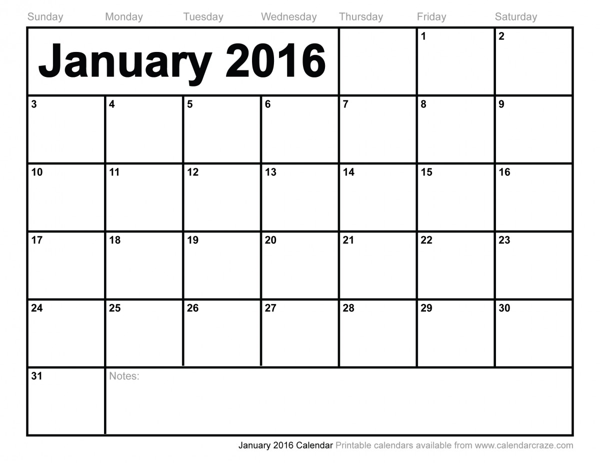 January 2016 Calendar Printable Fort Pierce Central