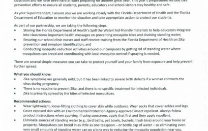 Zika Letter from Superintendent Gent