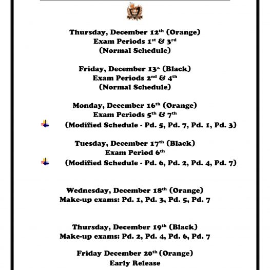 2019-2020 1st Semester Exam Schedule