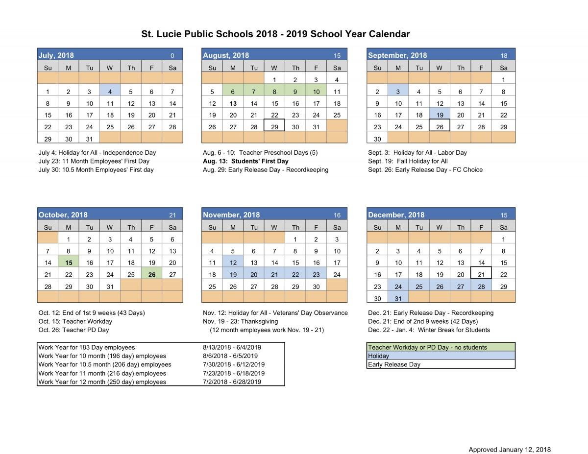St Lucie School Calendar 2020 Calendar – Northport K 8