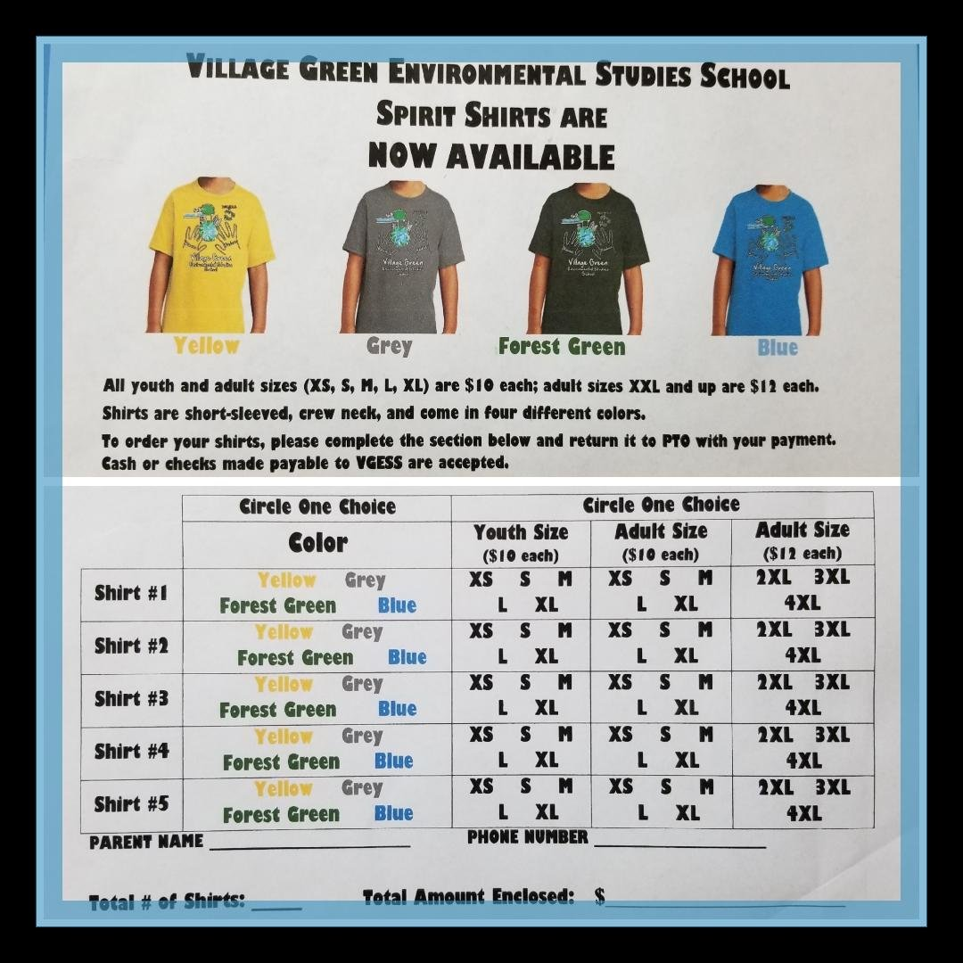 VGESS 2018-2019 School Spirit Shirts – Village Green Environmental